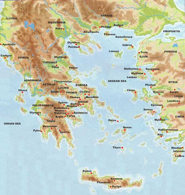 the area of Ilium and Ancient Troy. Ancient Greece map