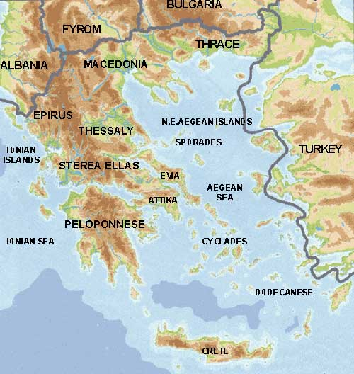 Physical map of greece greece physical map