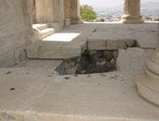 The hole where Poseidon struck his trident, Erechteion, Acropolis