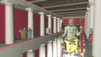 The statue of Zeus as it was made from Phidias in Olympia Greece