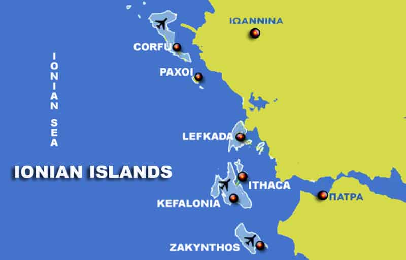 ionian island map