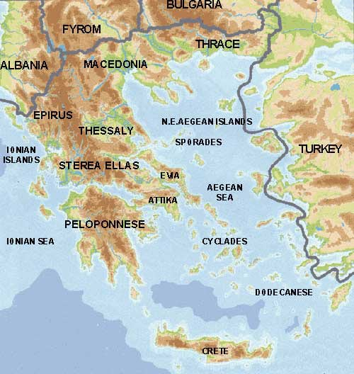 pHYSICAL MAP OF gREECE